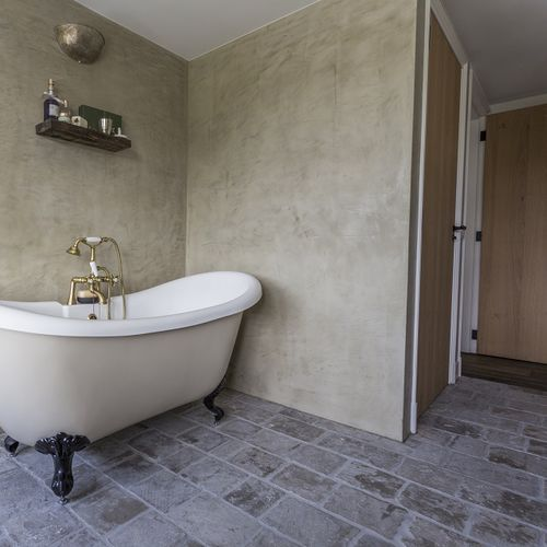bathroom tile vieux medoc cobblestone tumbled split edges luget floor limestone rectangular