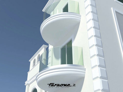 Outdoor railing / aluminum / glass / for balcony NINFA CURVA by Nino Faraone FARAONE Srl