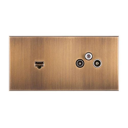 USB socket / multiple / wall-mounted / metal INOX LINE : 8348_BR 6ixtes PARIS