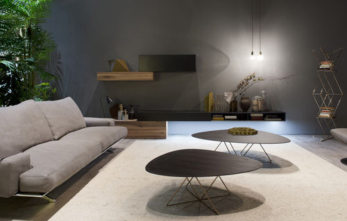Contemporary living room wall unit / wood veneer / glossy lacquered wood E45 e CUBODIECI by Roberto Gobbo Euromobil spa