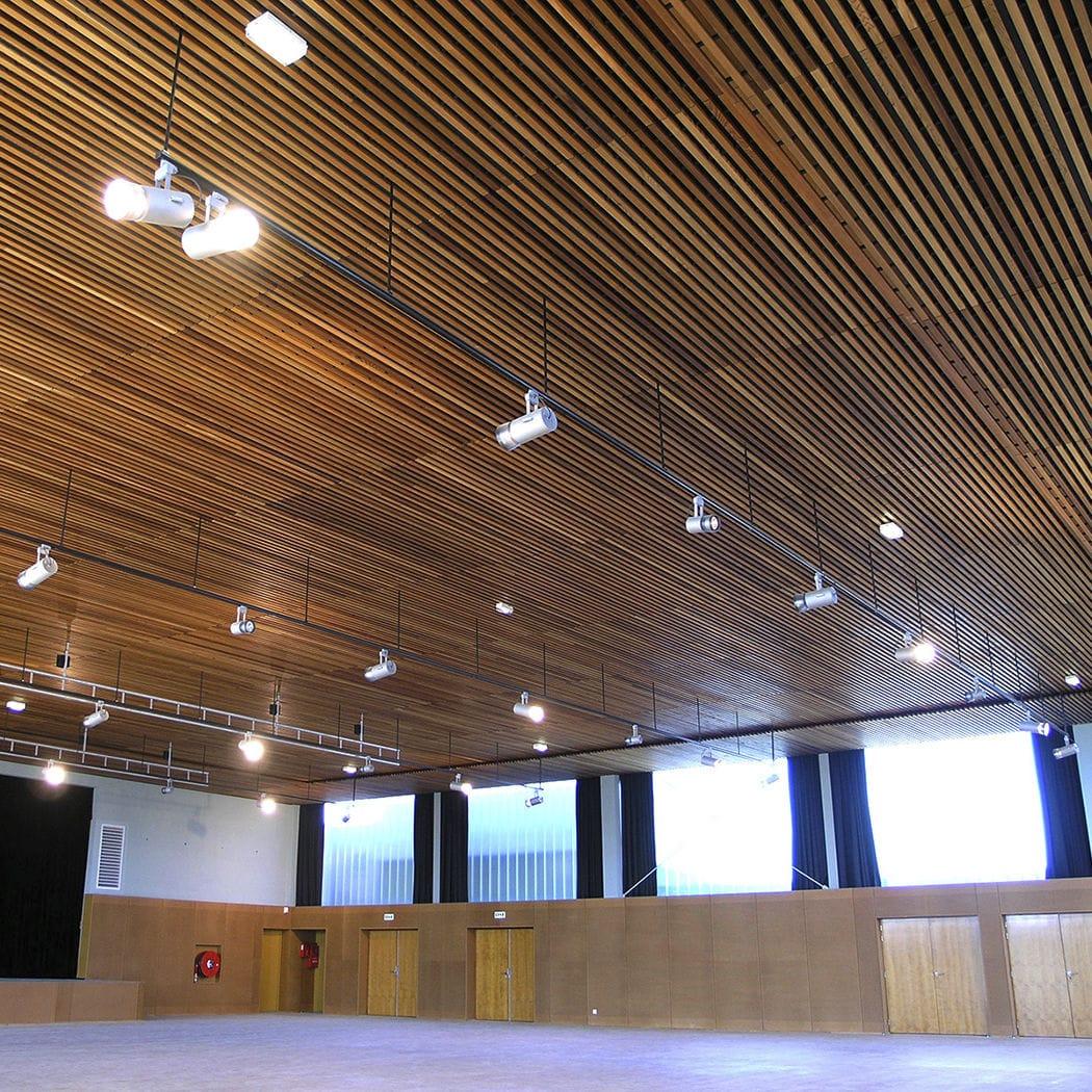 faux plafond en bois en laine de roche en lames acoustique lauder linea 2 4 6