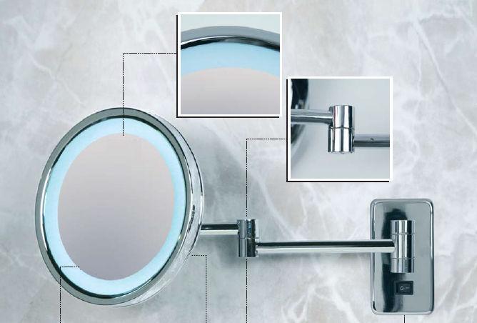 Miroir De Salle De Bain Mural Kristal Vision 950 O Or 550 Elite Grossissant Lumineux Led Contemporain