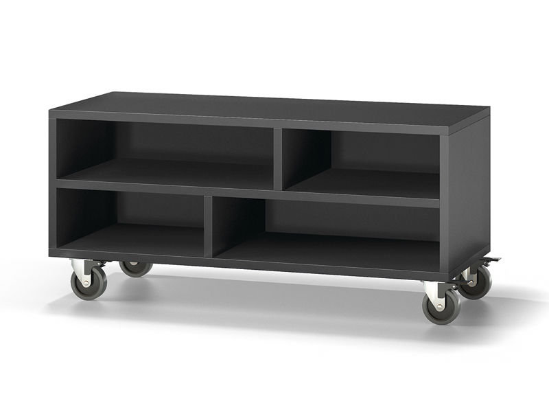 meuble tv contemporain 90 baixmoduls avec roulettes en bois