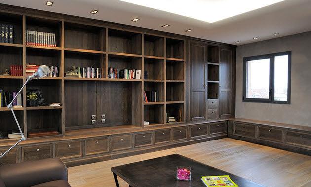 bibliotheque contemporaine en bois sur mesure cosi biblio