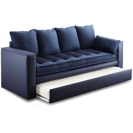 canape contemporain en tissu avec lit gigogne bleu extras