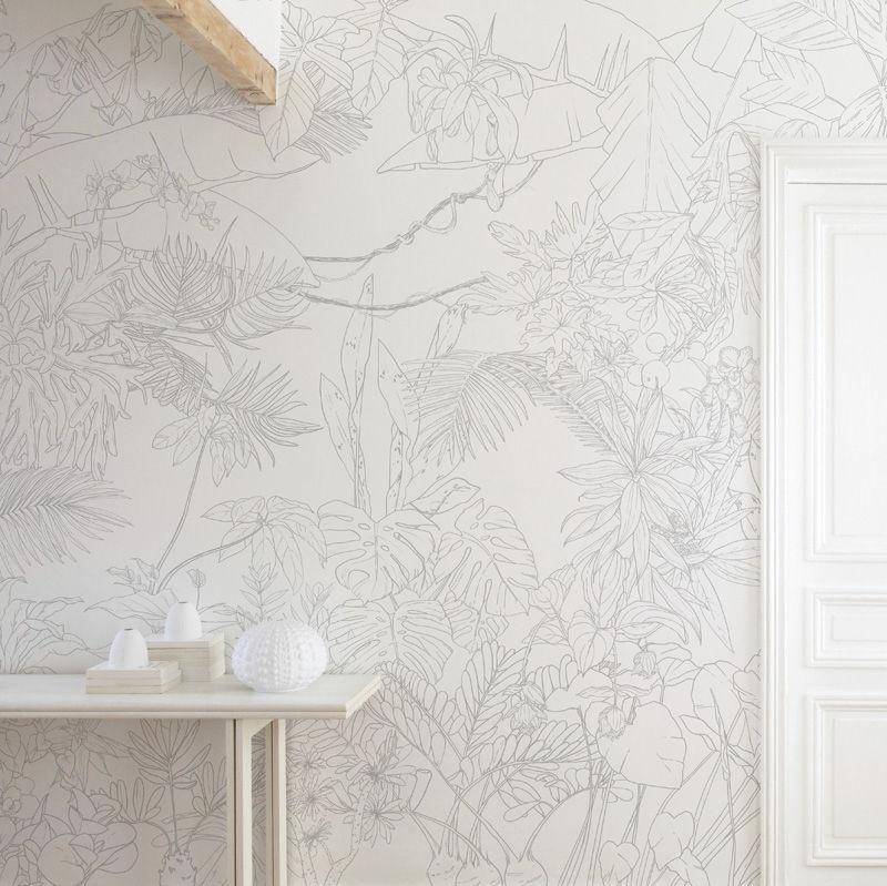 papier peint jungle tropical trait gris