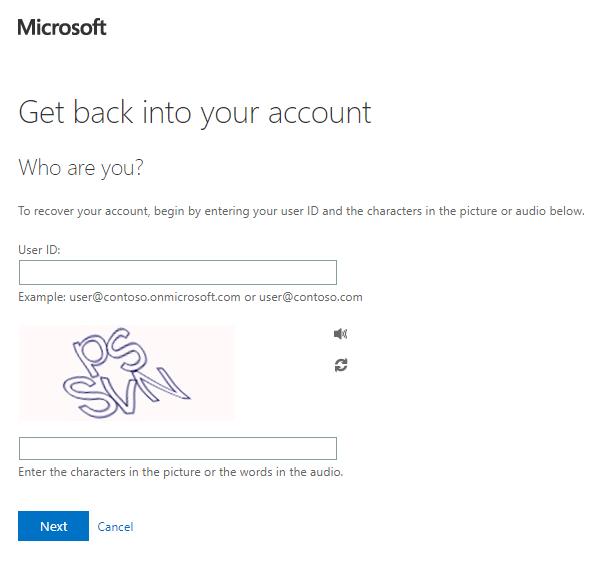 Formularz przypominania hasła usługi Microsoft Online