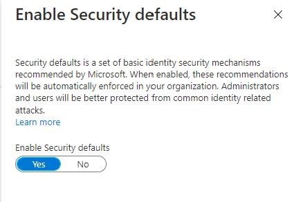 Włączanie Security Defaults w tenancie Microsoft 365