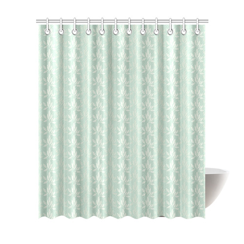floral pattern in sage green and white shower curtain 72 x84 id d2374697