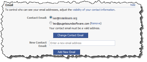 Facebook showing all associated email addresses