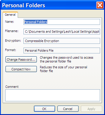 Outlook Personal Folders Properties Advanced dialog