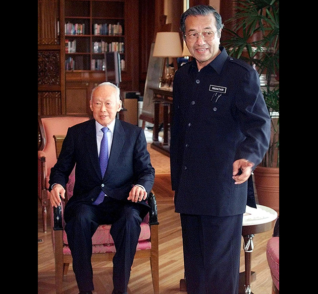 Image result for Prime Minister Mahathir of Malaysia with Lee Kuan Yew
