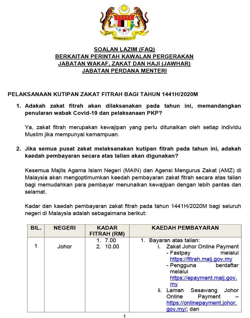 Kadar dan kaedah pembayaran zakat fitrah pada tahun 1441H/2020M bagi seluruh negeri di Malaysia.