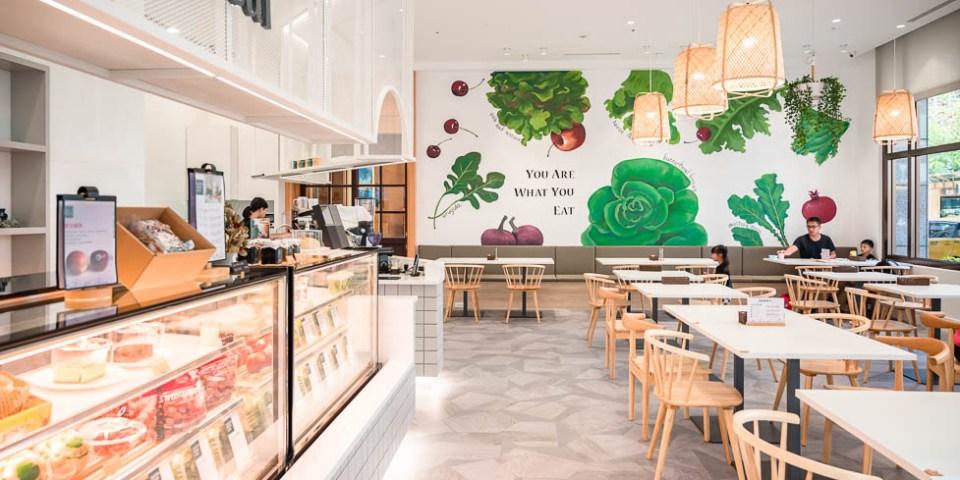 |台中美食|蔬食樂市府店,台中新店新菜單,室內小清新風格超好拍,彩繪蔬果牆超可愛