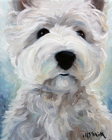 SPARROW Westie West Highland White Terrier Dog Art Oil