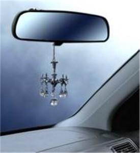 Decorative Mini Chandelier W Crystals Rear View Mirror Ornament Auto Accessory