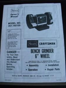 Sears Craftsman Bench Grinder 6 Wheel Model 257