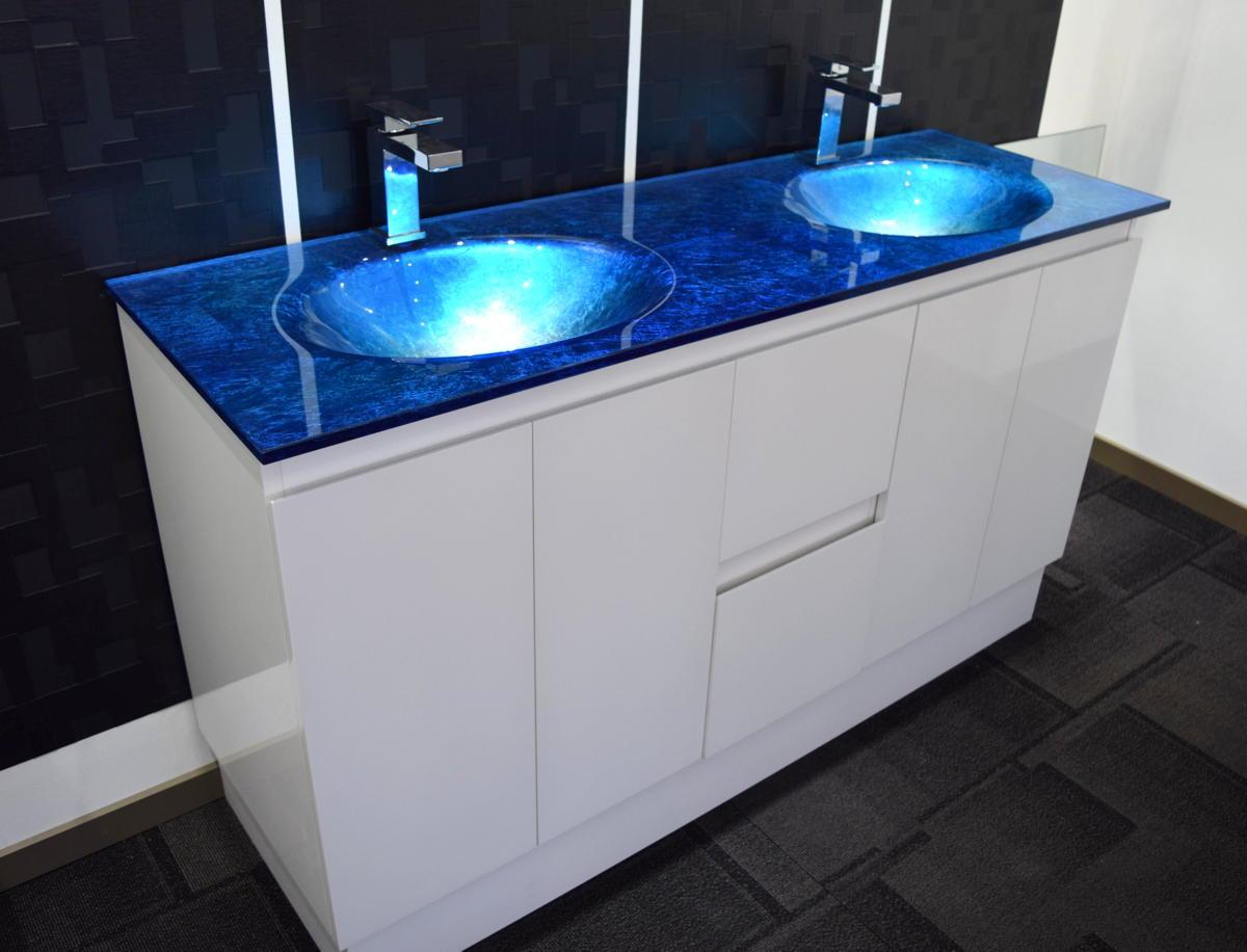 Bathroom Vanity Unit Integrated Glass TOP Cabinet Set