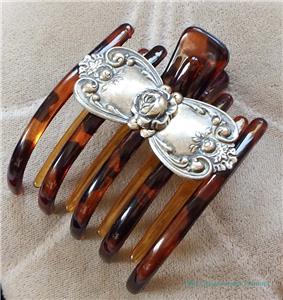 vintage art deco sterling silver celluloid hair b clip ebay