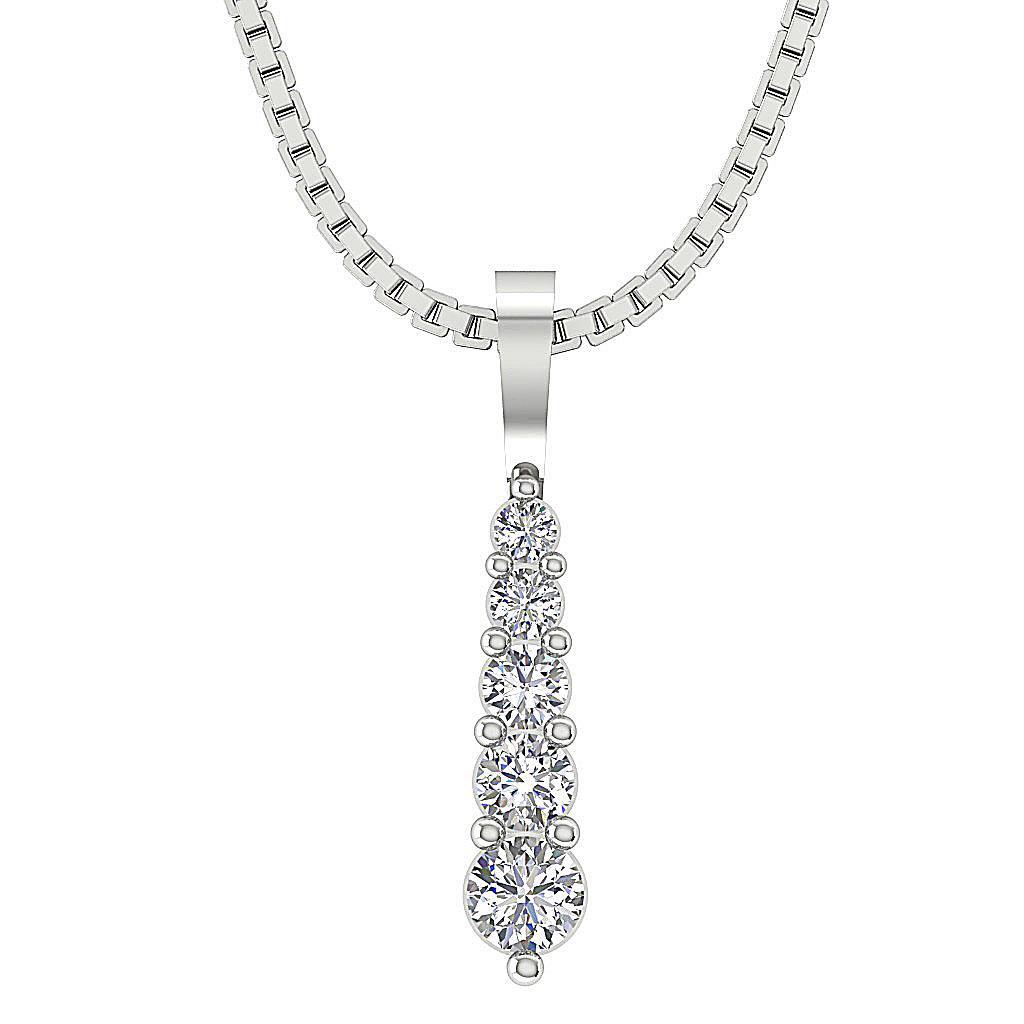 Journey Pendant Necklace 0 30 Ct Si1 G Round Diamond 0