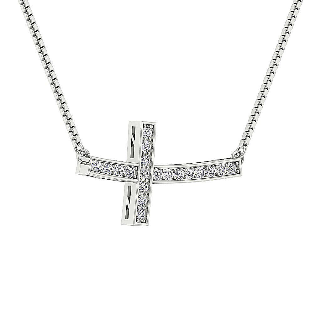 Cross Pendant Necklace Natural Round Diamond I1 G 0 35 Ct