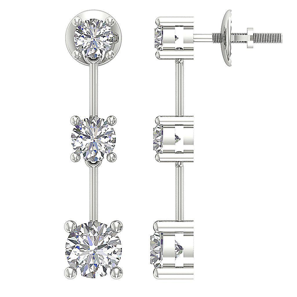 Journey Dangle Chandelier Earrings Round Diamond I1 G 1 65