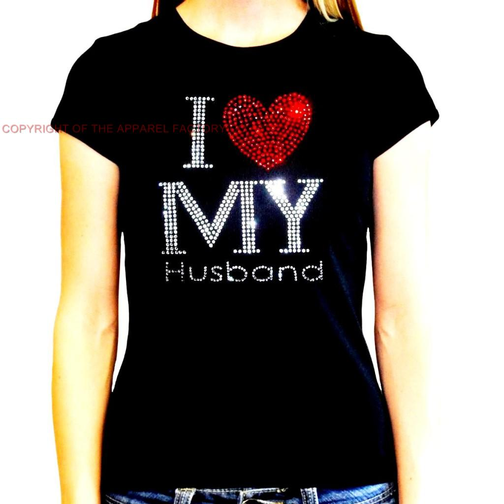 New Juniors Rhinestone I LOVE MY HUSBAND T Shirt Hubby