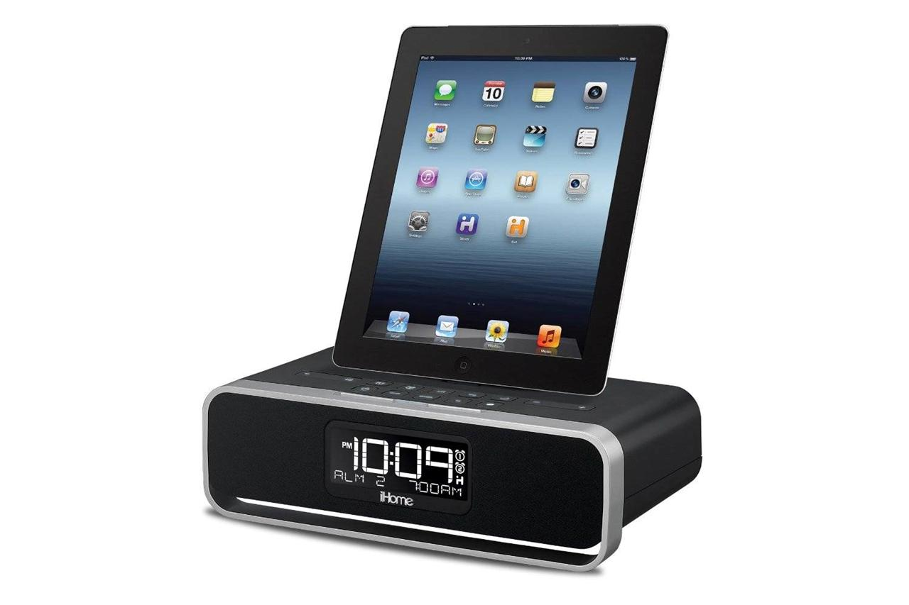 Ihome Dual Charging Stereo Fm Alarm Clock Dock For Ipad