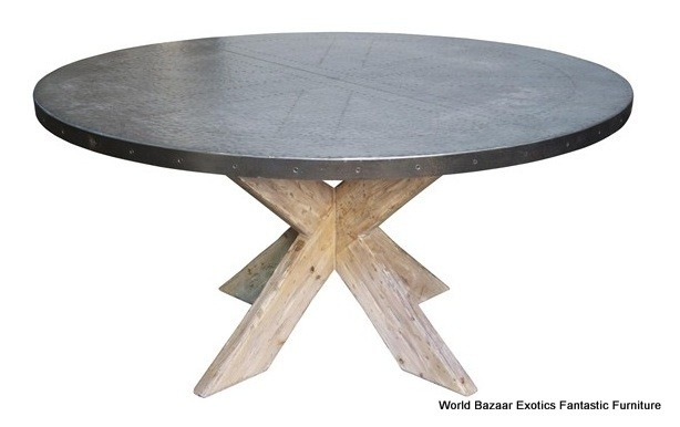 """60"""" Round Dining Table Beautiful Zinc Top Old Wood Base"""