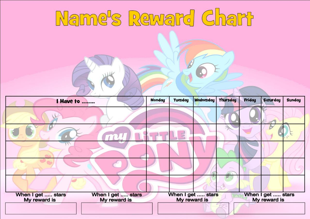 My Little Pony C Job Behavior Reward Homework Chart Free