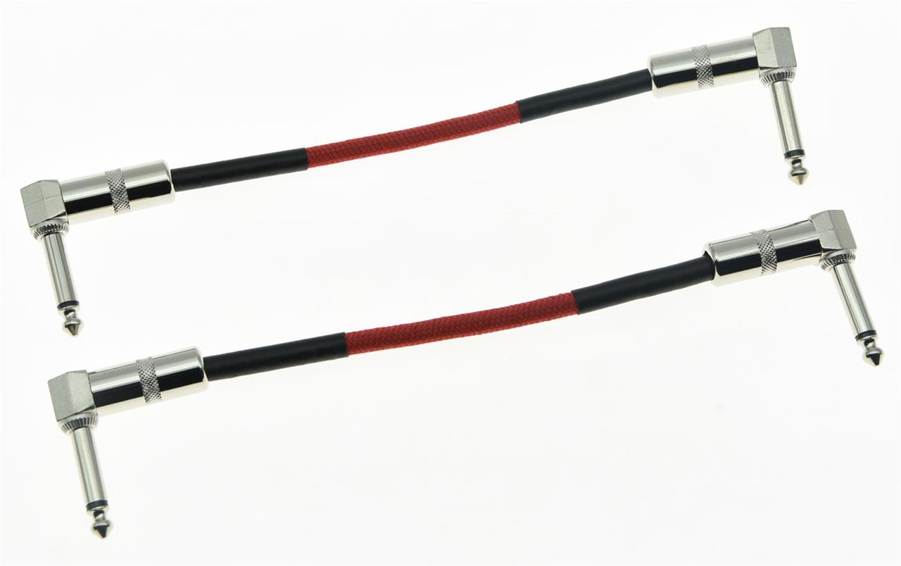 2 Pack Red Right Angle 20cm Mono Guitar Effect Pedal Cable