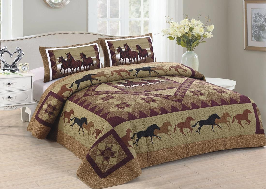 Horse Country Quilt Set King Size Cowboy Star Brown