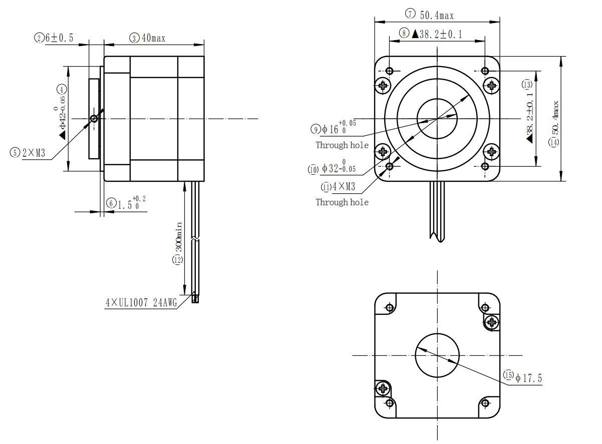 Hollow Shaft Stepper Motor 50 Hybrid Motor 2 Phase 1 8