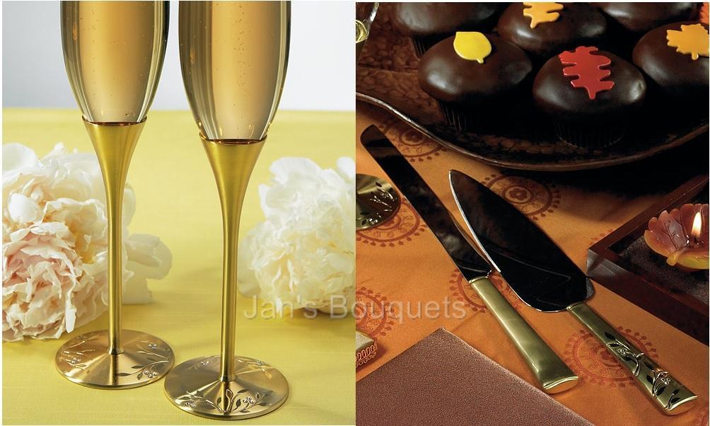 Brushed Gold Wedding Flutes Cake Cutting Knife Amp Server