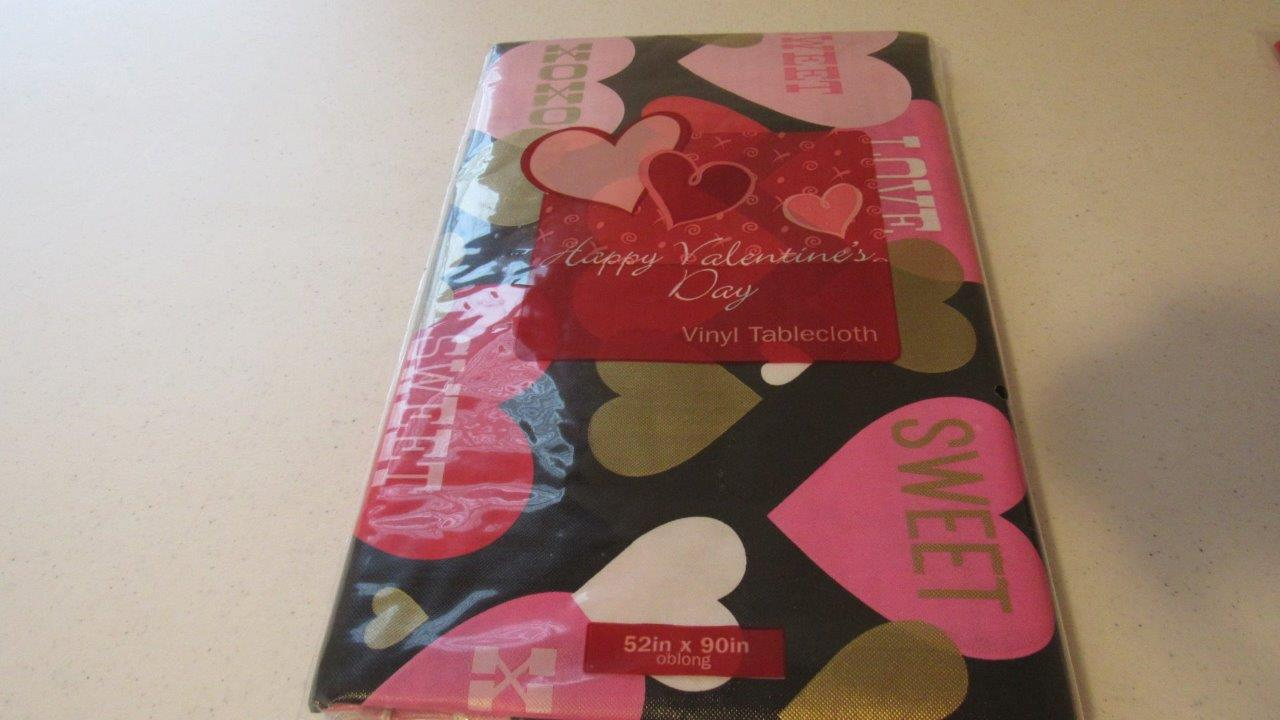 Valentines Day Vinyl Tablecloth Conversation Hearts Love