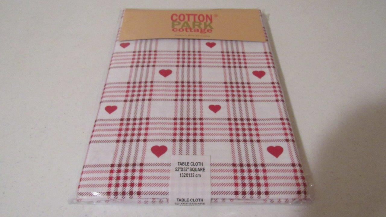 Valentines Day Tablecloth Plaid Gingham Hearts RedWhite