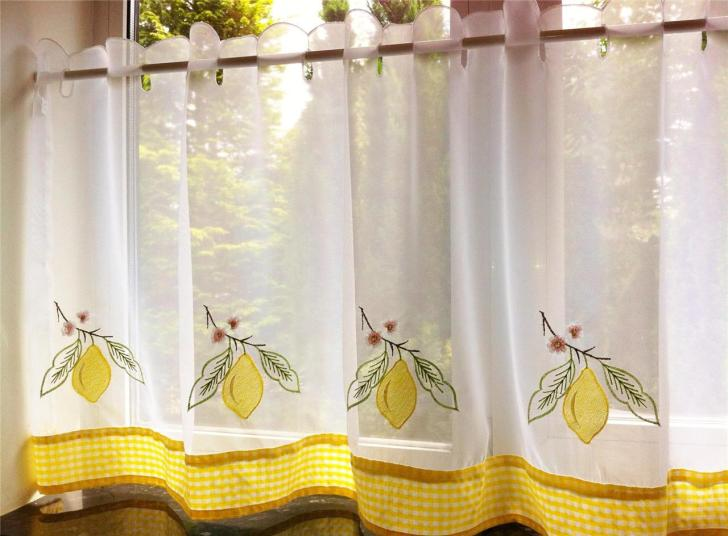 Yellow Lemon Voile Cafe Curtain Panel Kitchen Curtains Many Sizes