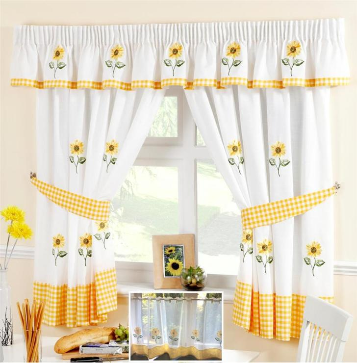 Sunflower Yellow White Voile Cafe Curtain Panel Kitchen Curtains