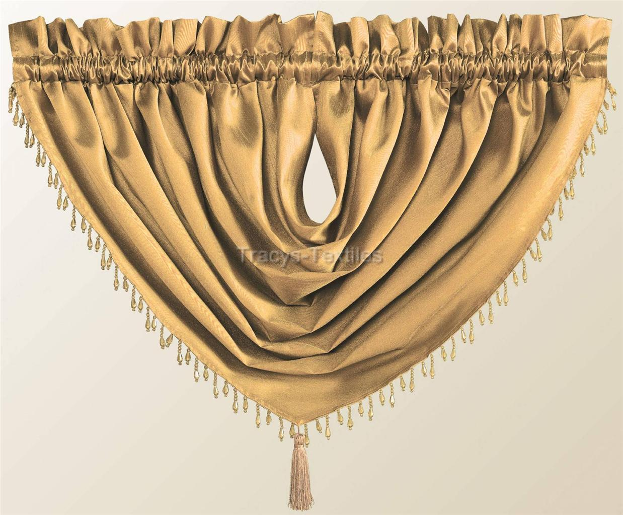 Luxury Destiny Faux Silk Beaded Tassled Voile Swag Curtain