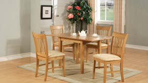 5PC RECTANGULAR KITCHEN DINETTE TABLE SET 4 CHAIRS OAK EBay
