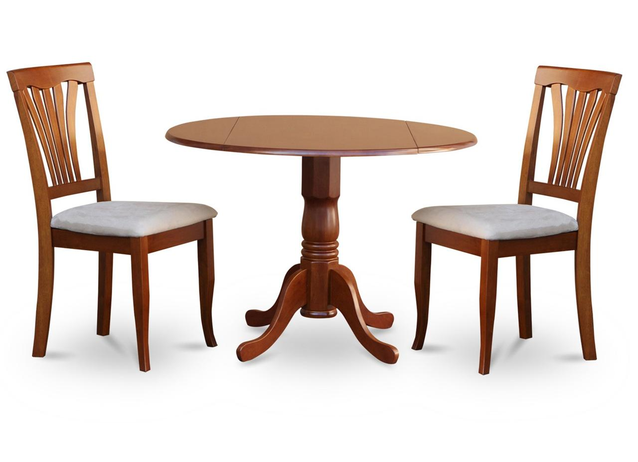 "3PC KITCHEN DINETTE SET- ROUND 42"" TABLE & 2 WOOD SEAT"