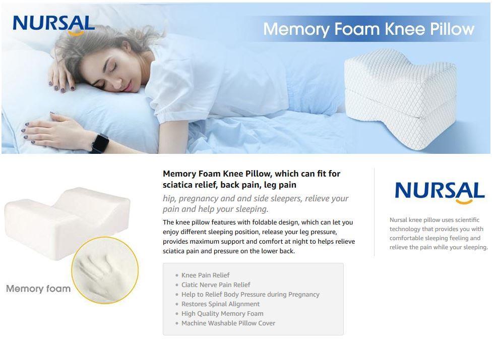 nursal memory foam knee pillow for