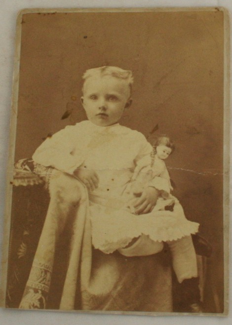antique photograph, cabinet photo, Portland OR, Girl, doll