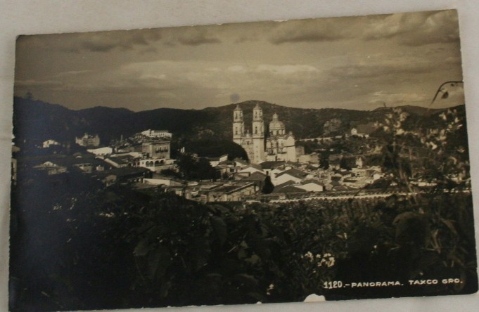 vintage postcard, real photo, Taxco, Mexico, panorama