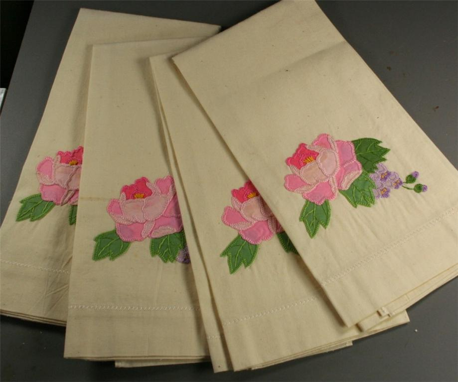 vintage hand towel, embroidered, hand embroidered, cotton