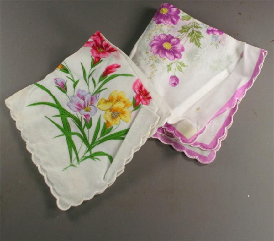 vintage handkerchief, floral, print