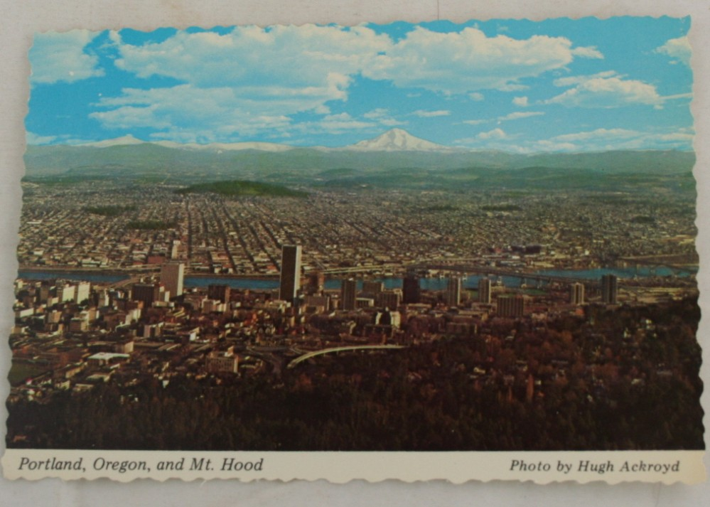 vintage postcard, Portland, Oregon, panorama, Hugh Ackroyd