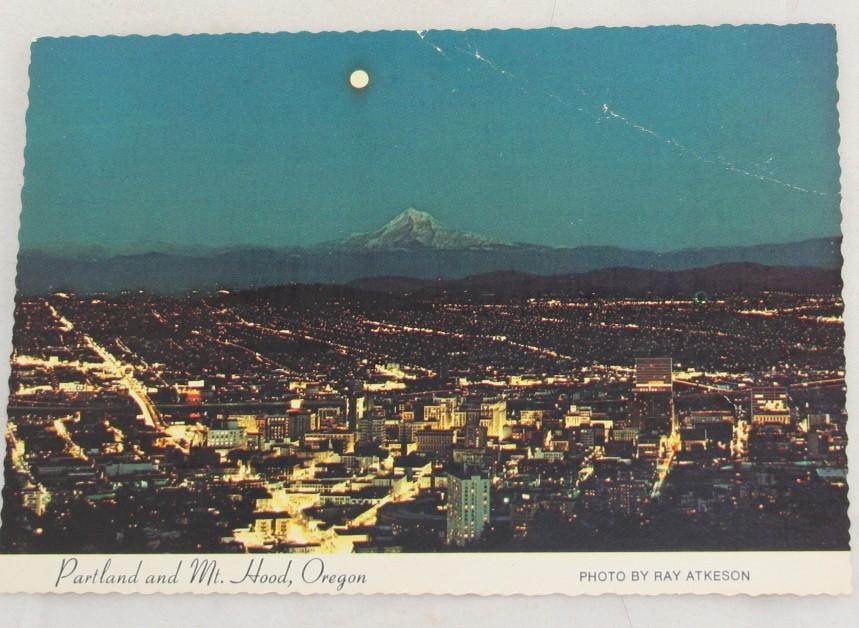 vintage postcard, Portland, Oregon, panorama, Ray Atkeson