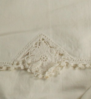 vintage pillowcase, crochet edge, cotton