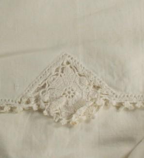 vintage pillowcase, crochet edge, cotton